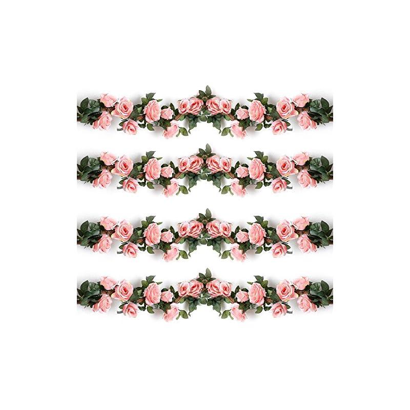 silk flower arrangements yiliyajia fake flowers spring garlands rose garlands artificial silk flower rose vines hanging rose ivy plants for wedding home office arch arrangements decoration 4pcs(28.14 ft)(pink)