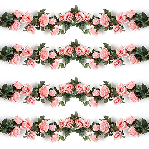 YILIYAJIA 4PCS(28.8 FT) Artificial Rose Vines Fake Silk Flowers Rose Garlands Hanging Rose Ivy Plants for Wedding Home Office Arch Arrangement Decoration (Pink)