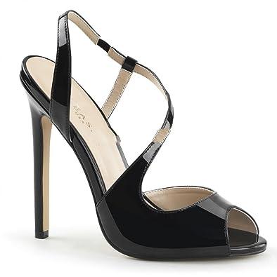 Schwarz Riemchen Lack High Sandaletten Pleaser 10 Fetisch Sexy Heels 8nwPXNO0k