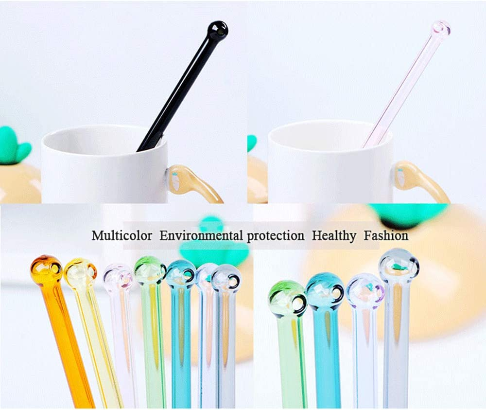 MaiKeEr 10 Pcs Multicolor Glass Straw 7.5 x 0.32 inch 10 Colors Round Head Reusable Drinking Straw Cocktail Straw Coffee Straw High Boron Silicate Glass Straw with Cleaning Brush/&Cleaning Cloth