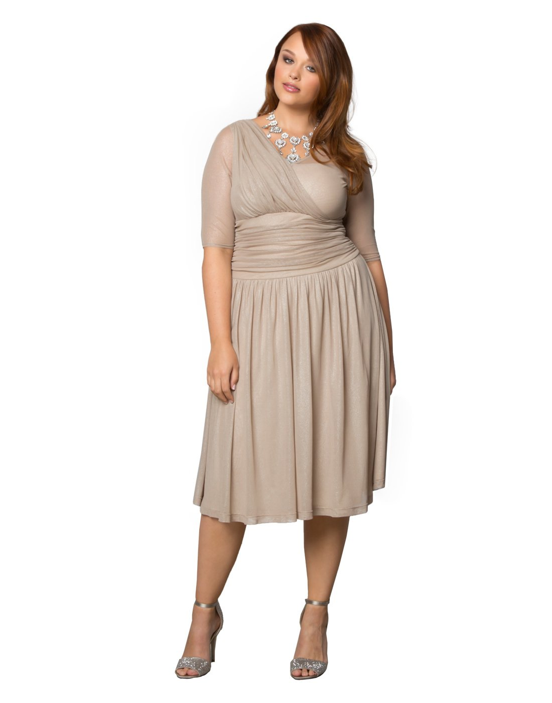 Kiyonna Women's Plus Size Limited Edition Glimmer Cocktail Dress 1X Champagne