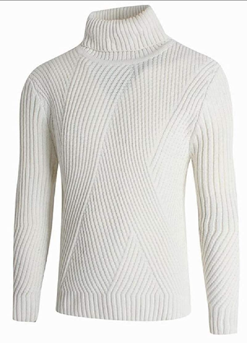 WSPLYSPJY Men Turtleneck Long Sleeves Pullover Cable Knitted Sweaters