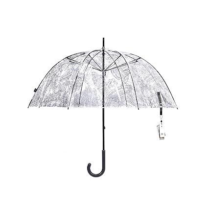 Paraguas de Palo Claro/Forma de Cúpula Transparente Paraguas de Lluvia Estilo Princesa con asa