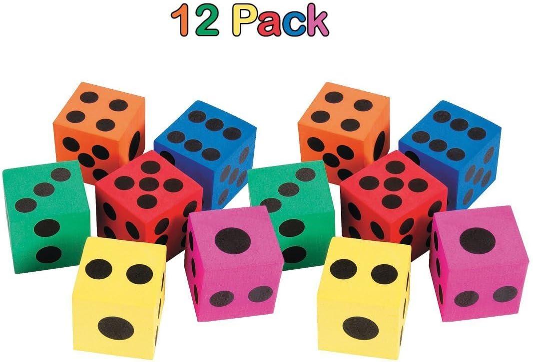 1-Pack of 12 Fun Express Foam Jumbo Playing Dice