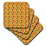 3dRose Anne Marie Baugh - Patterns - Cute Pink, Green, and Red Mexican Guitars On Orange Pattern - set of 8 Ceramic Tile Coasters (cst_295471_4)