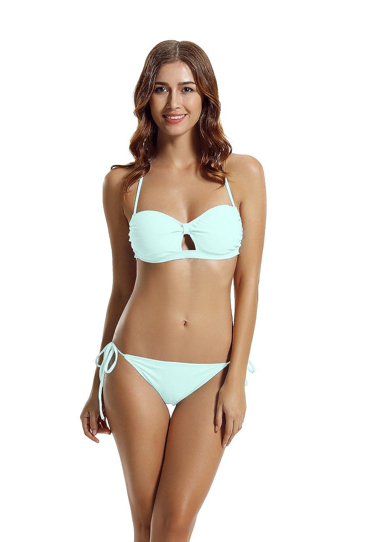 zeraca Women's Tie Side Pantie Bandeau Bikini Set 81037