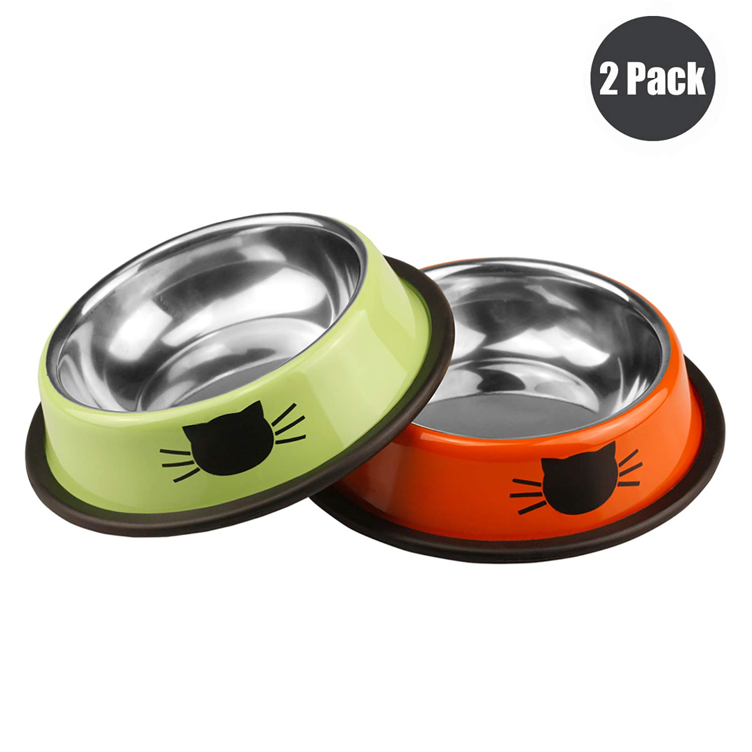 Ureverbasic Cat Bowls Stainless Steel Dog Bowl 8oz for Small Pets Puppy Kitten Rabbit Non-Skid Cat Food Bowls Easy to Clean Durable Cat Dish for Food and Water
