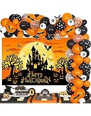 Halloween Balloon Garland Kit Orange and Black - Eye Ball Latex Balloon Orange Backdrop 3D Bat Stickers for Halloween Party Birthday Baby Shower Indoor Outdoor Decorations