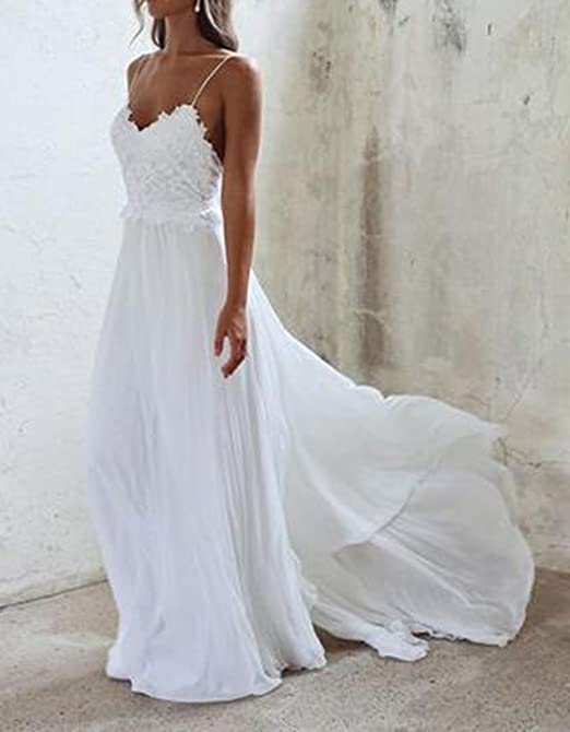 Amazon.com: Boho Wedding Dress Casual Lace Chiffon Beach Wedding Dresses for Bride 2017: Clothing