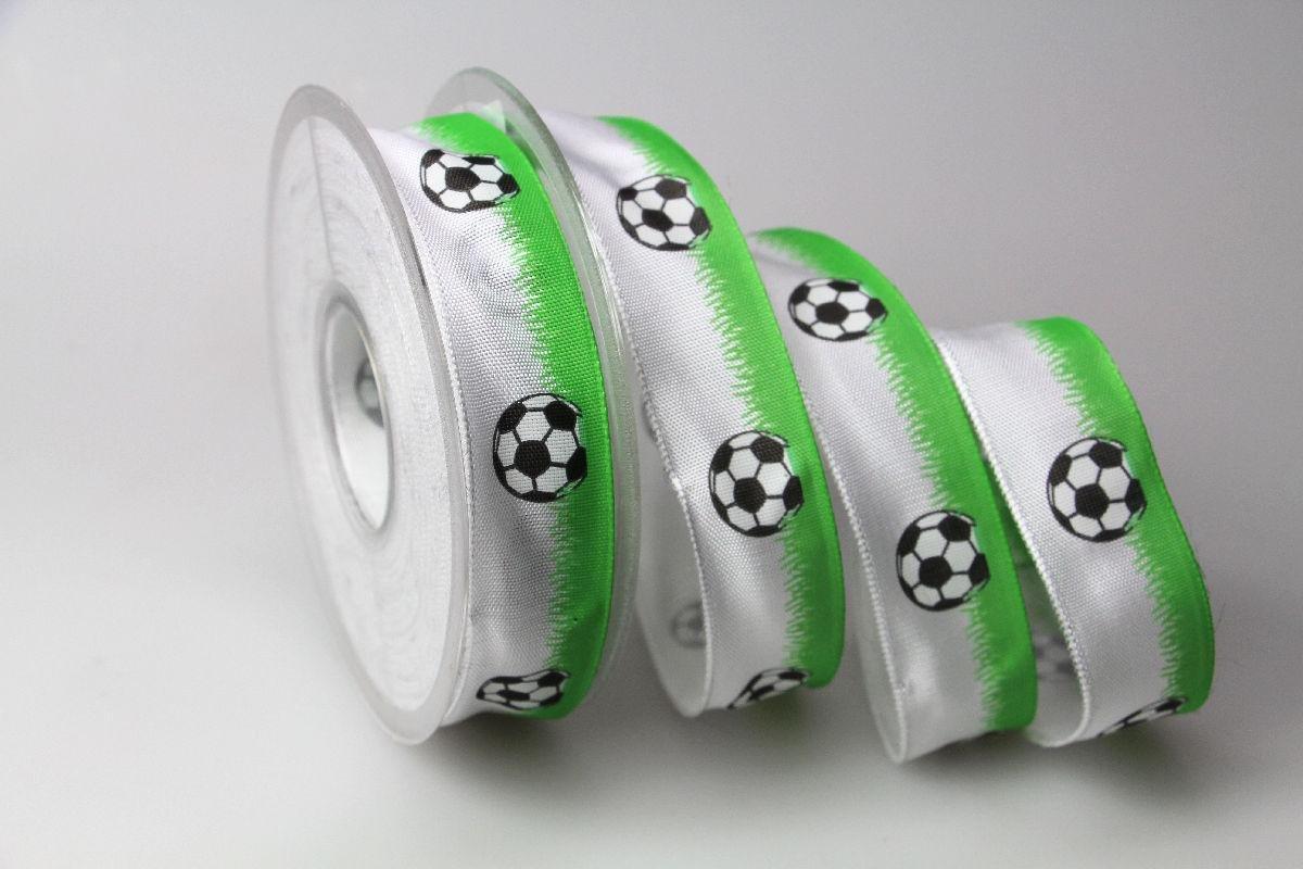 Christa-B/änder Motivband Fussball gr/ün 25mm mit Draht