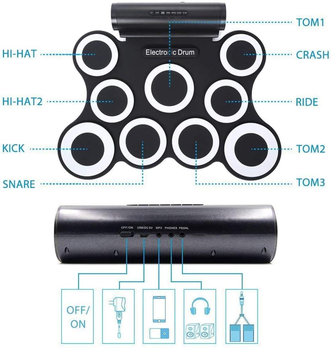 Zenghh Silicone Batteria Elettronica Kit Roll Up Drum Kit Mat, 9-Pad pieghevole strumento di pratica, altoparlante integrato e la batteria, Bacchette, Pedali, regalo Crescita figli adulti for il tempo Bianca