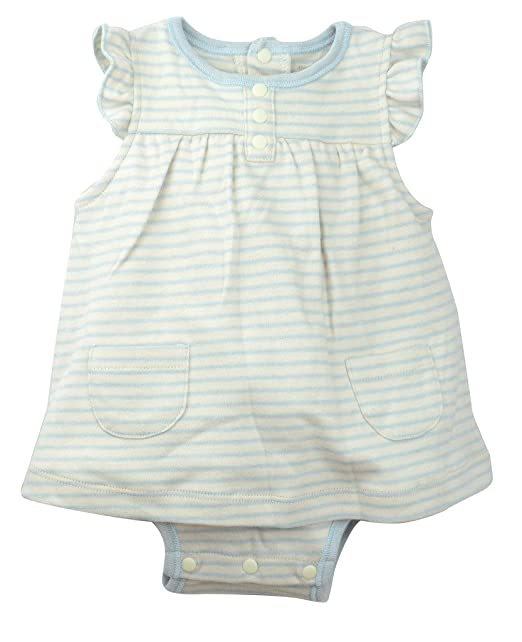 Organic Cotton Baby Girls Ruffle Bodysuit Babydoll Dress, Dye-Free, Blue Stripes 3