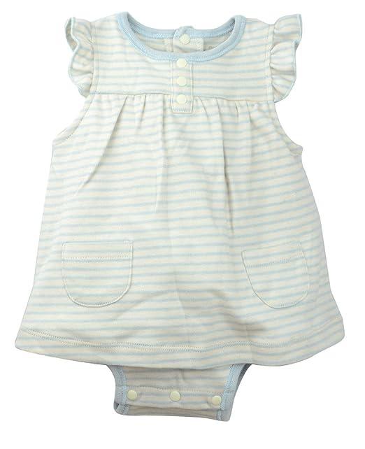 Organic Cotton Baby Girls Ruffle Bodysuit Babydoll Dress, Dye-Free, Blue Stripes 3