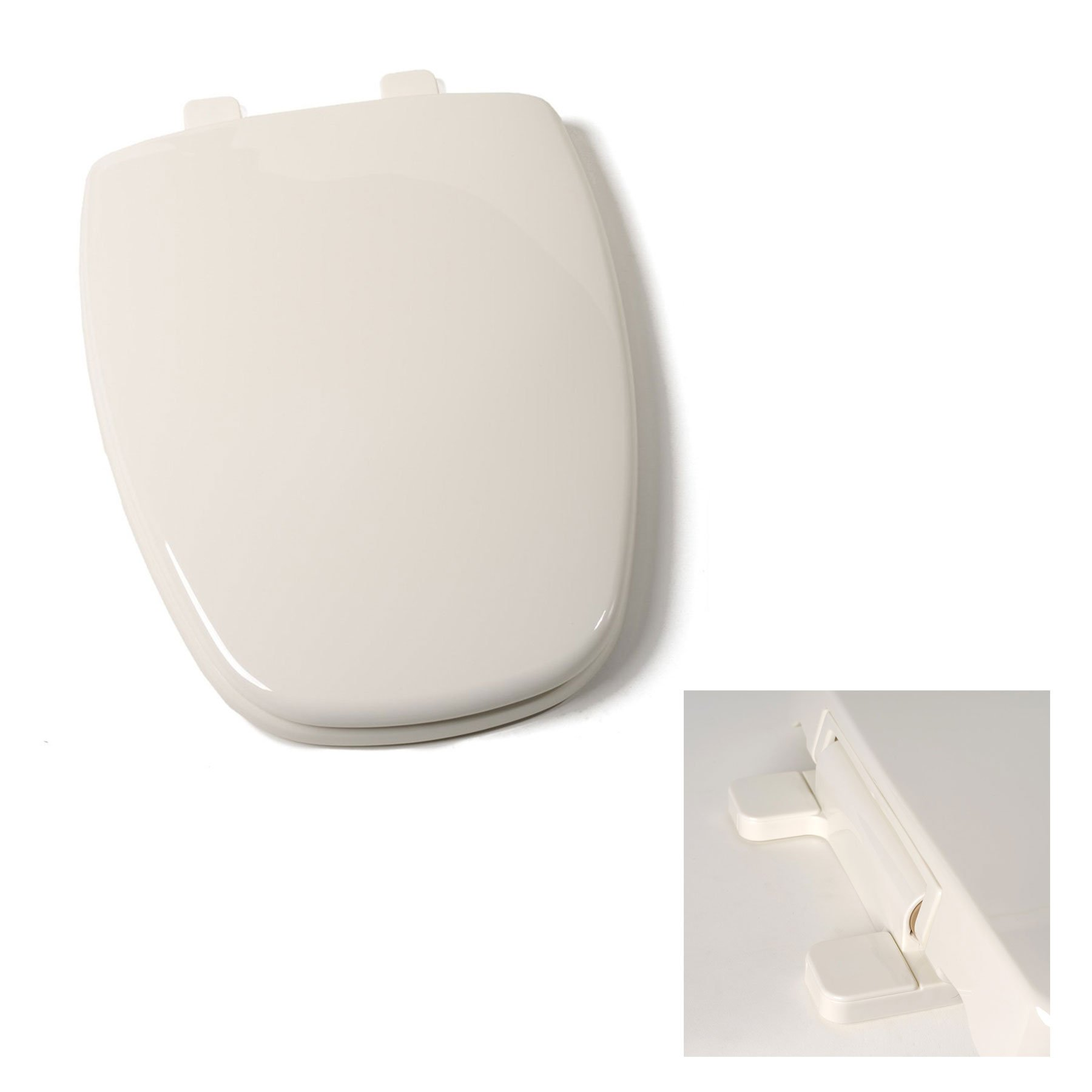 Deluxe Plastic Square Slow-Close Bone Elongated Toilet Seat for Eljer Toilets