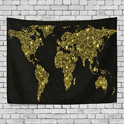 Artpanda Gold World Map Tapestry Black and Yellow Glow in the Dark Blacklight Abstract Wall Hanging Art for Living Room Bedroom Dorm Decor 60 X 51 Inch (Glow In The Dark Tablecloths)