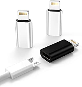 3-Pack,Micro USB to Lightning Adapter,Lightning Male to Microusb Female Adapter for Apple iPhone 5s 6 6s 7 8 Plus se2 x xr xs 12 11 Mini max pro Ipad Connector Converter Port
