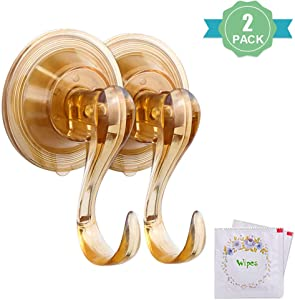 VIS'V Suction Cup Hooks, Small Brown Reusable Heavy Duty Vacuum Suction Cup Hooks with Cleaning Cloth Strong Window Glass Kitchen Bathroom Hooks for Towel Loofah Sponge Christmas Wreath - 2 Packs
