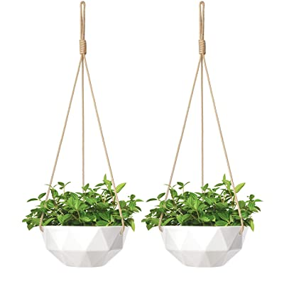 Mkono 9 Inch Ceramic Hanging Planter Indoor Outdoor Modern Geometric Flower Plant Pot White Porcelain Hanging Basket with Polyester Rope Hanger for Herbs Ivy Crawling Plants, Set of 2: Garden & Outdoor