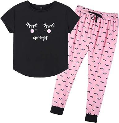 Amazon Com Yijiu Conjunto De Pijamas De Verano Con Estampado De Dibujos Animados Y Pantalon Para Mujer Clothing