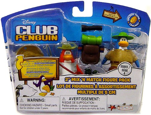 Club Penguin 2' Mix - Disney Club Penguin 2'' Mix 'N Match Figure Pack - Camper and Fisherman