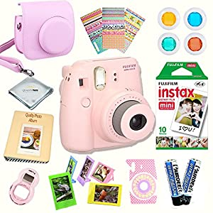 Fujifilm Instax Mini 8 Camera + Fuji INSTAX Instant Film (10 SHEETS) + 14 PC Instax Accessories kit Bundle, Includes; Instax Case + Album + Frames & Stickers + Lens Filters + MORE (Pink)