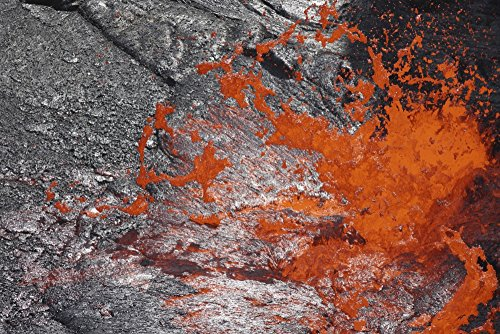 (Posterazzi PSTRRS300094SLARGE February 8 2008-Lava Bubble Bursting Through Crust of Active Lava Lake Erta Ale Volcano Danakil Depression Ethiopia Poster Print, 34 x 23)