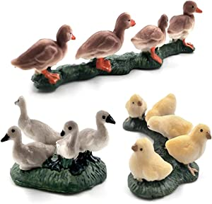 Kimkoala Farm Animals Decorative Figurines, 3 Pcs Simulation Mini Cute Chicken Duck Goose Figures Animals Set Model Toys for Kiddie Play Miniature Fairy Garden Decoration Ornament