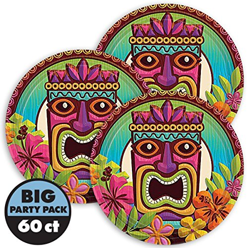 Amscan Sun-Sational Summer Luau Party Tropical Tiki Round Plates Tableware, 60 Pieces, Made from Paper, Multi-color, 7''
