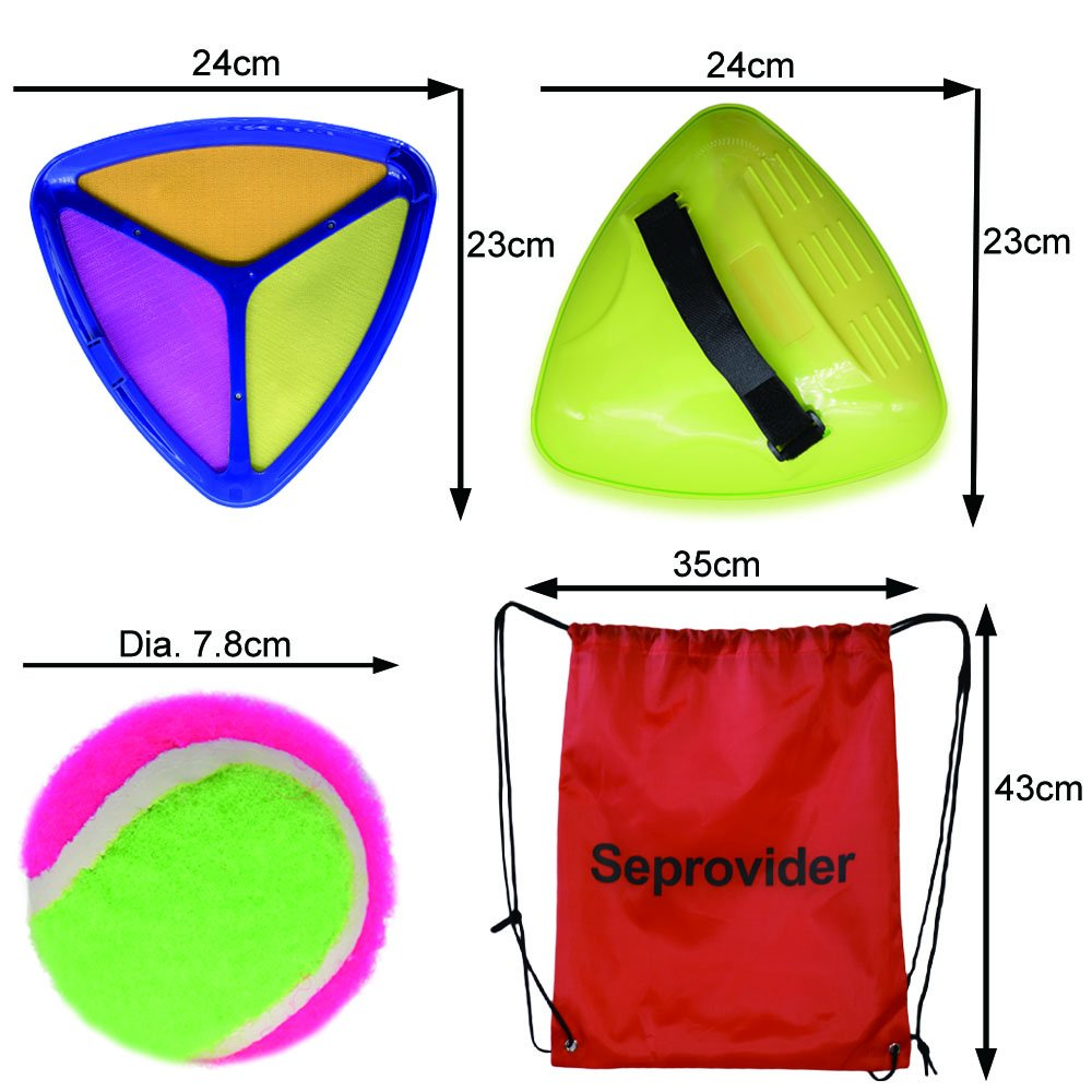 Seprovider Toss Catch velcro Ball Game with 2 Triangle Paddles 2 Balls and 1 Polyester Carry Bag Sports Game for Outside and Inside by Seprovider (Image #5)