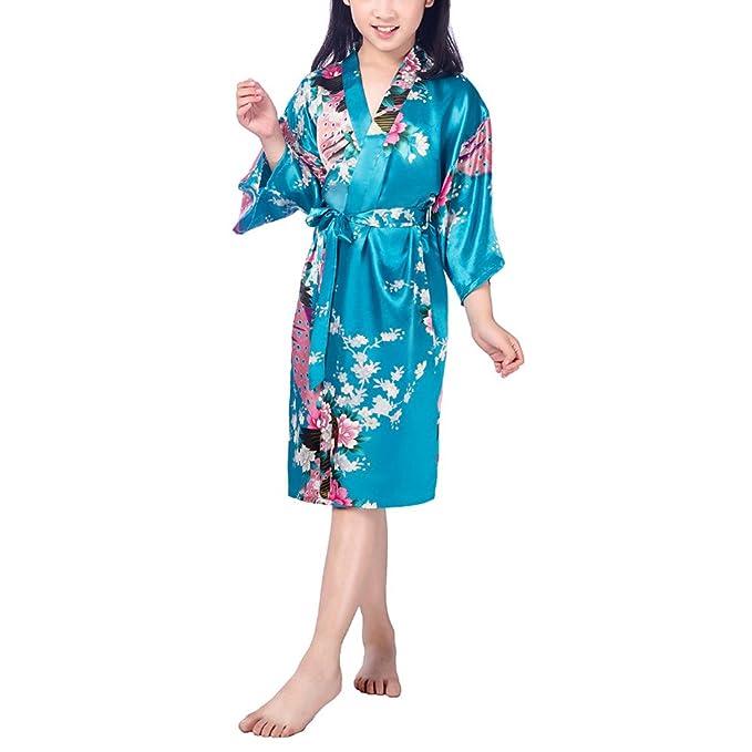 FY Niñas Kimono Bathrobe Robe Albornoz Bata de Baño Vestido Pavo Floral Seda De Imitación Ropa
