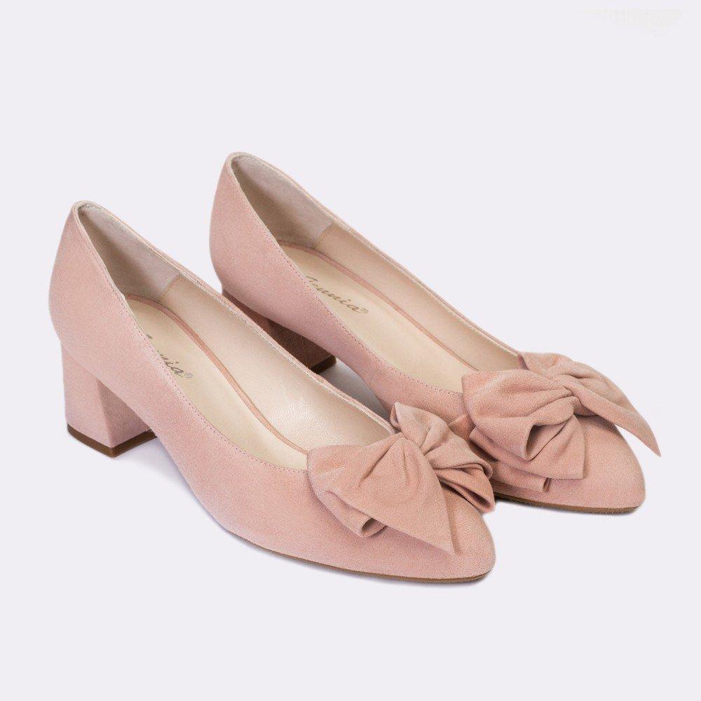 Gennia Absatz Kiara Nude - Damen Ballerinas, aus Leder gemacht, Absatz Gennia Blockabsatz, höhe 5 cm dabd93
