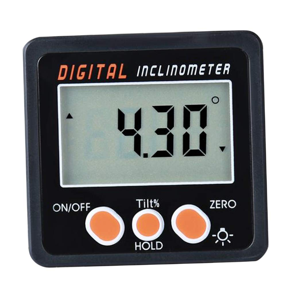 F Fityle Digital LCD Angle Gauge Level Protractor Angle Finder Bevel Gauge Inclinometer Accuracy Error: 0.2 Magnetic, Orange Button