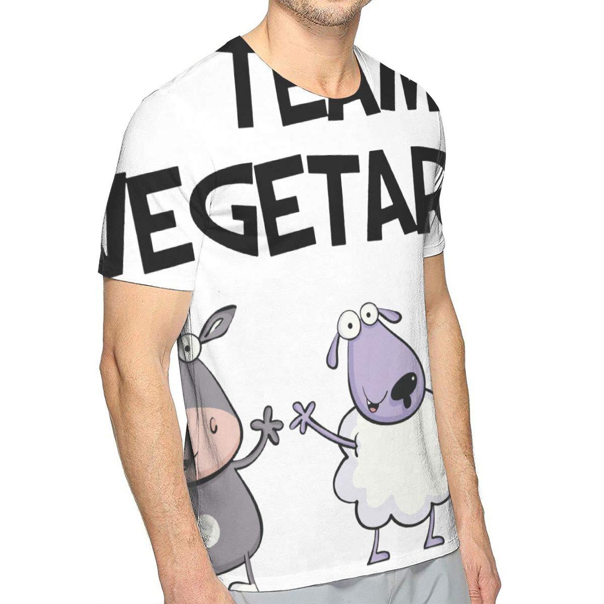 MONCCI Men Team Vegetarian Fan Crew Neck Classic Short Sleeve Adult Tees