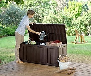 Keter 12-666101 Coffre de Rangement pour Jardin PVC Marron 390 L ...
