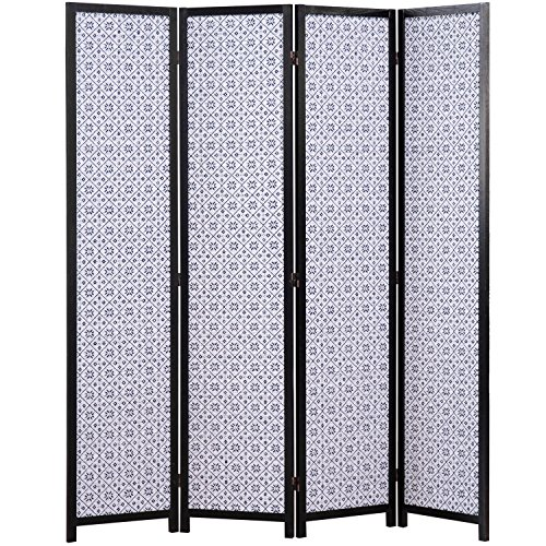 MyGift 4-Panel Diamond Design Folding Room Divider with Dual-Hinges, White & Blue