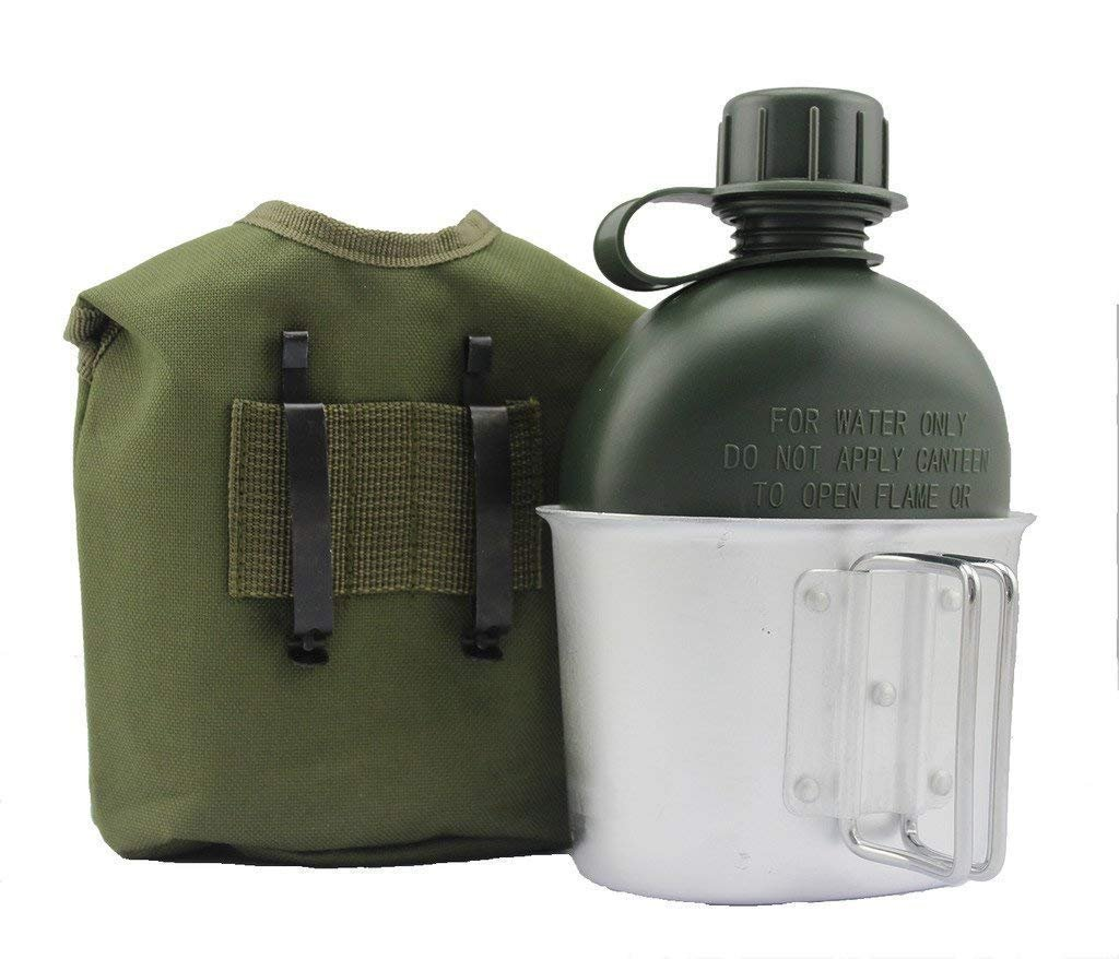 Begrit 1 quart extérieur bouilloire Canteen kit avec couvercle de tasse et en aluminium pour randonnée Camping