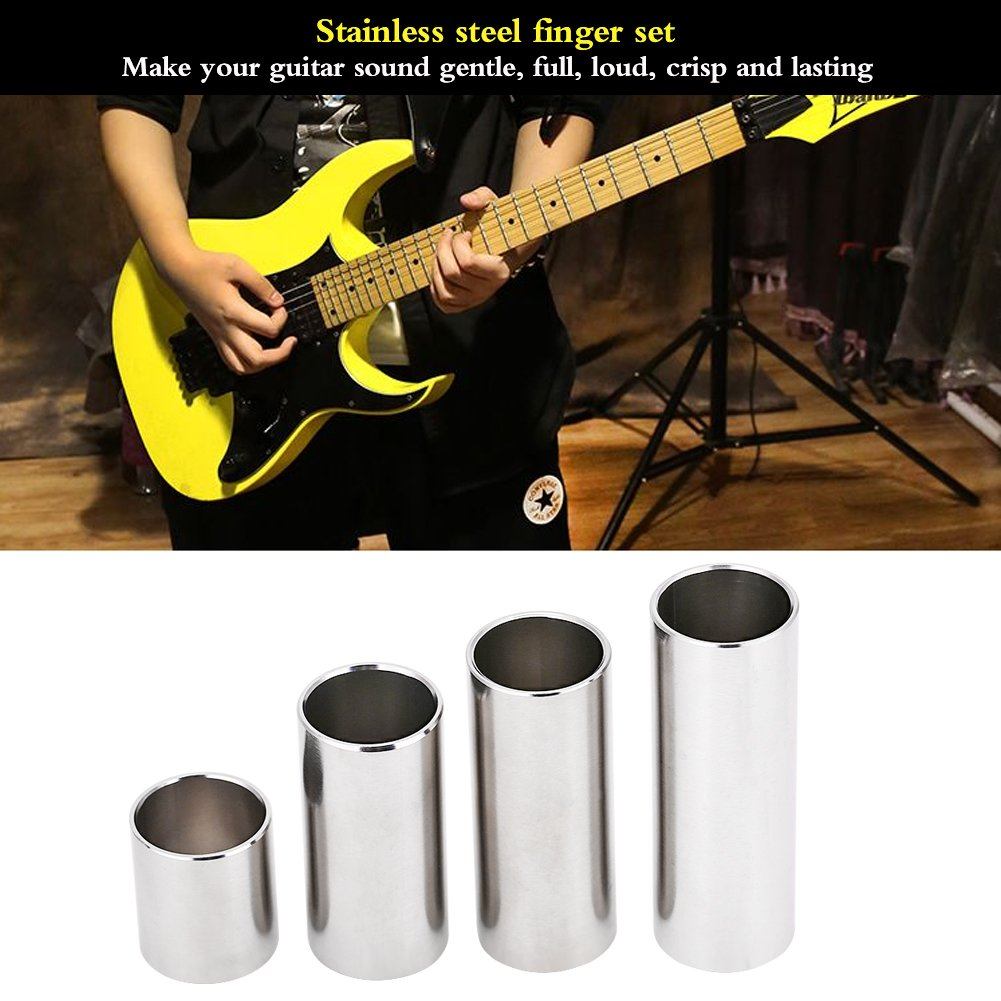 VGEBY Guitar Slides Set Durable Stainless Steel Bass Slide Guitar Tone Bar for Guitar Accessory