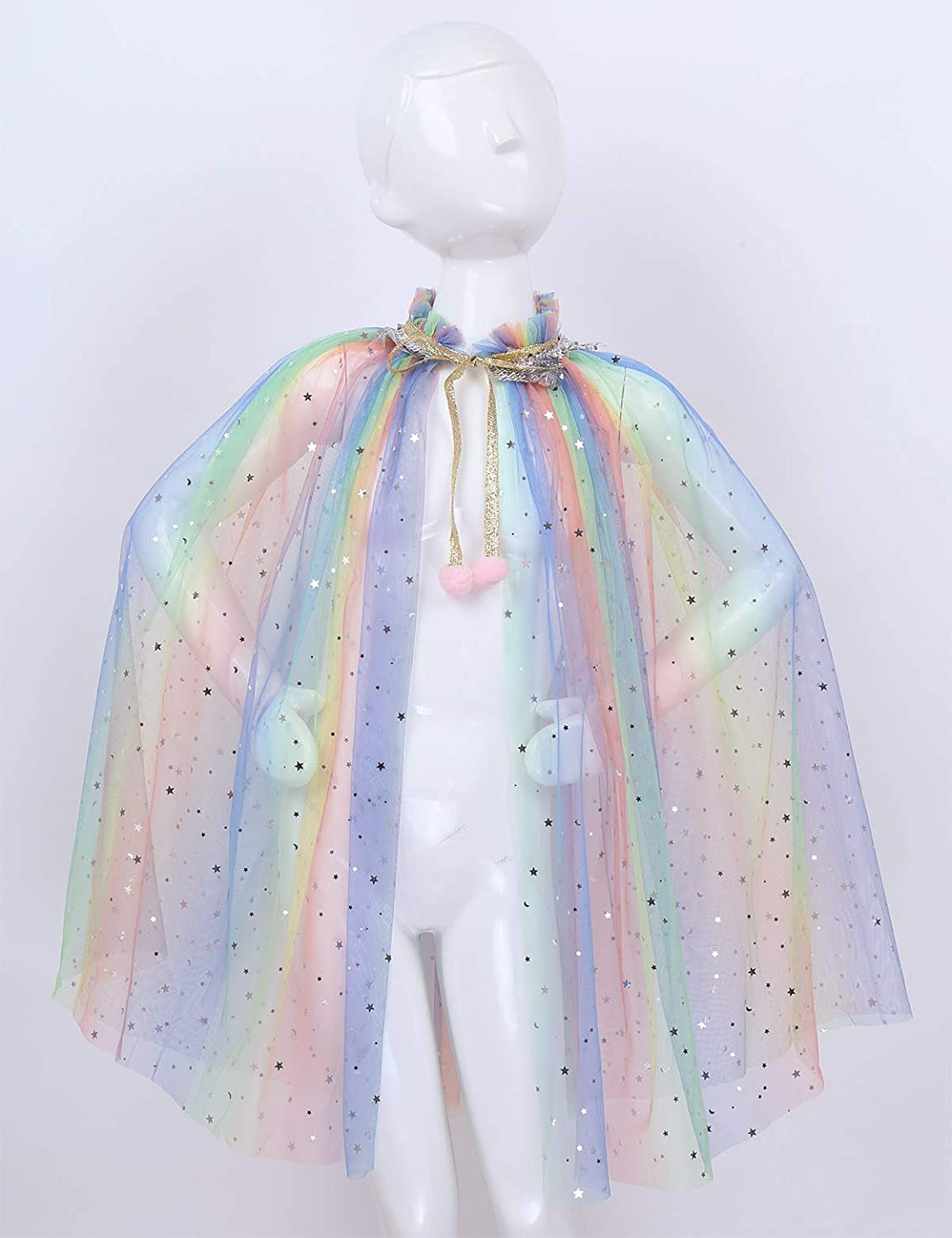 ranrann Kids Girls Fairy Tales Halloween Cosplay Costume Sparkling Sequins Tulle Princess Cloak Capes Birthday Party Dress up