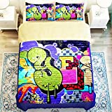Fashionable graffiti 4 Piece Duvet Cover Set Queen Size