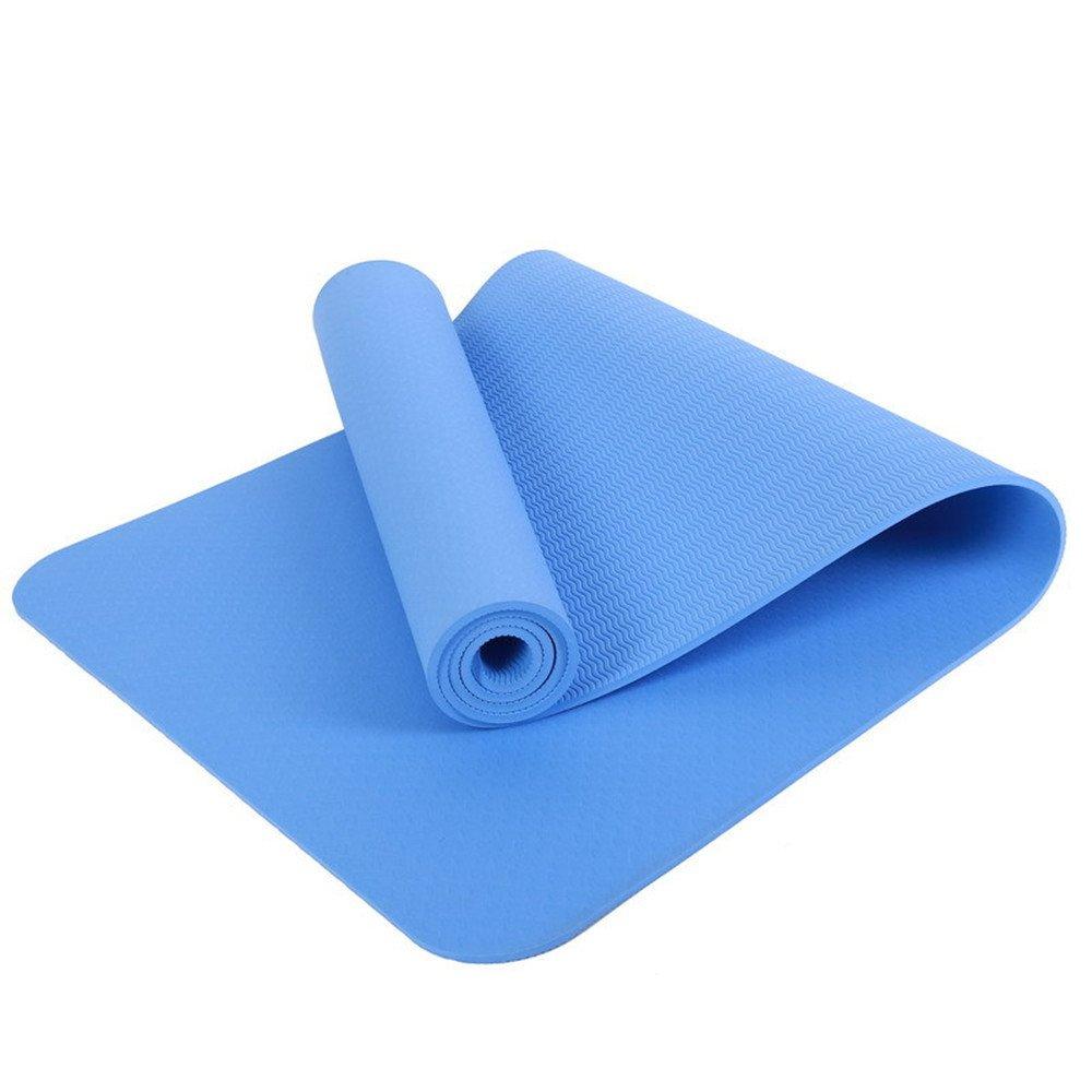 Bleu LILUO Tapis de Yoga TPE Yoga Fournitures Débutants Hommes et Femmes Yoga Tapis de Yoga Multifonctionnel 183  80  0.8cm