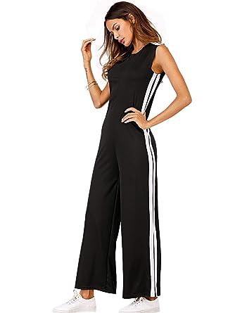 c1ad2e623292 Amazon.com  DIDK Women s Striped Side Sleeveless Wide Leg Plain ...