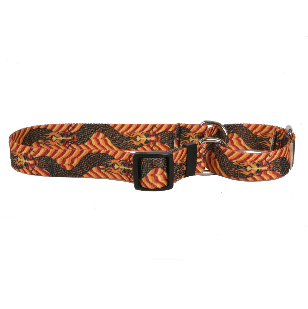 Small 14\ Yellow Dog Design Dragon Wave orange Martingale Dog Collar 3 4  Wide And Fits Neck 12 To 16 , Small