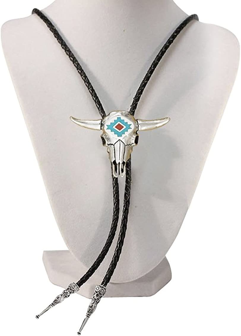 18 inch hang Mens Western Bolo Tie Turquoise /& Coral Inlaid Steerhead with Black Leatherette