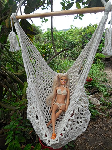 Handmade Mayan Hammock (Unique barbie doll hammock swing chair mayan technique with macrame edge handmade very cute and meticulously crafted)