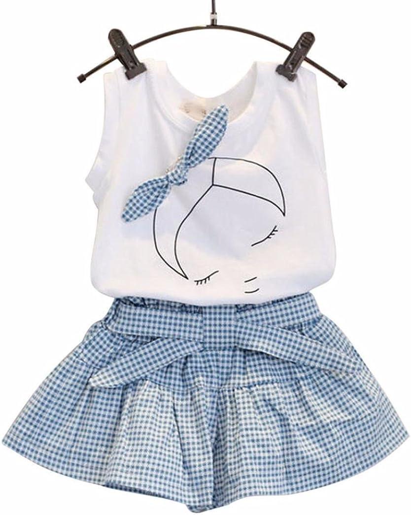Palarn Kids Girls Cute Bow Girl Pattern Shirt Top Grid Shorts Set Clothing