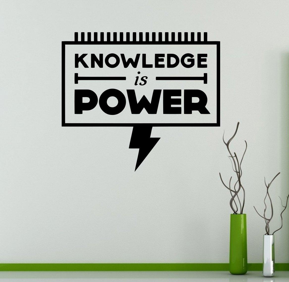 Knowledge is power wall decal motivational quotes vinyl sticker inspiration home interior room decor custom decals 18mot amazon com
