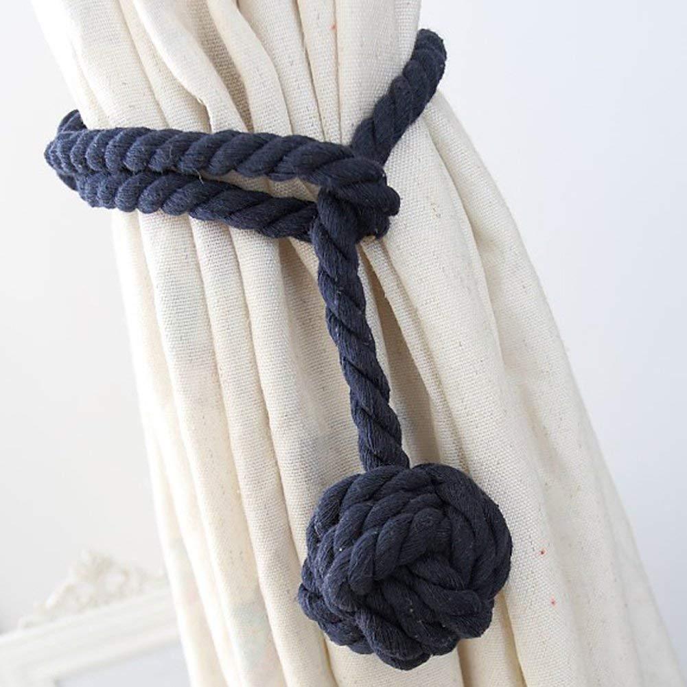YIDIE 4 Pack Cotton Rope Holdbacks Hand Knitting Window Curtain Tiebacks Blackout Curtains, Navy