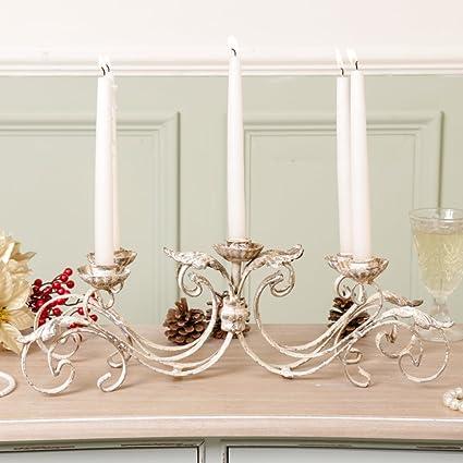 Shabby Chic Cream Stone Effect Finish Candle Stick Holder wedding Christmas