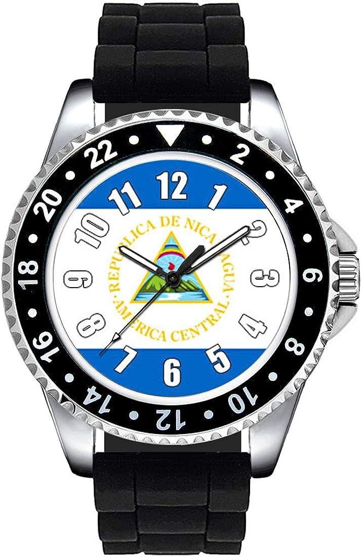 Timest - Bandera de Nicaragua - Reloj Unisex con Correa de Silicona Negro SE0485SB: Amazon.es: Relojes