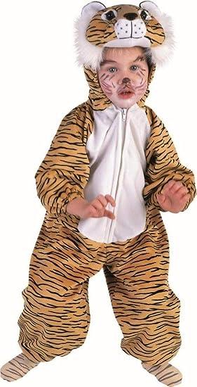 KARNEVALS-GIGANT Tigerkostüm Tiger Plüsch Kostüm Kinder Jungen Mädchen Plüschkostüm Unisex Größe 128